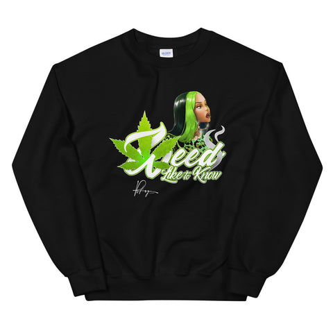 WEED LIKE TO KNOW SWEATSHIRT - BLACK