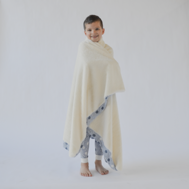Big Kid Blanket w/Faux Fur - Blue Balloons Accessories sweetbambooclothing