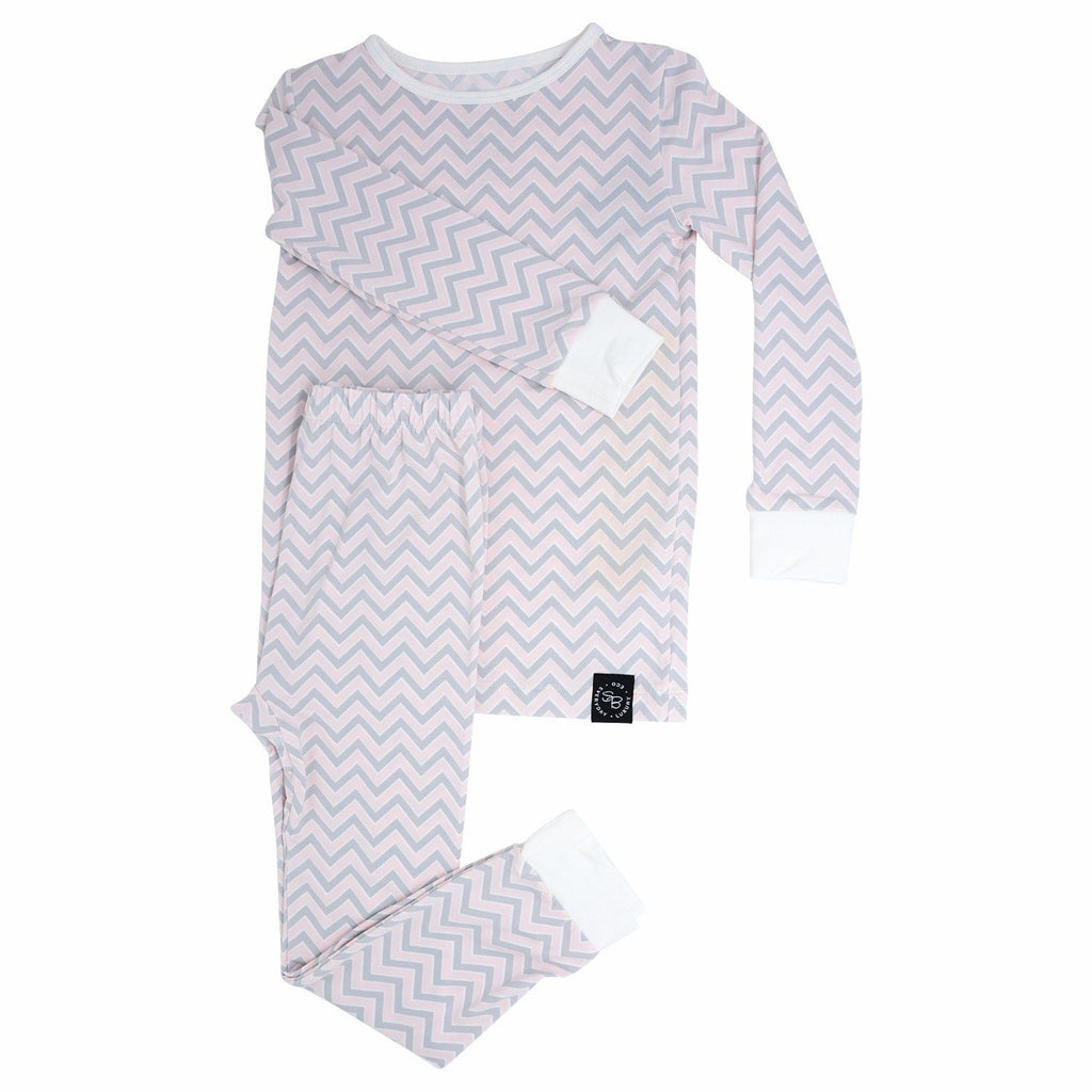 Big Kid Pajamas - Pink Chevron - Sweet Bamboo