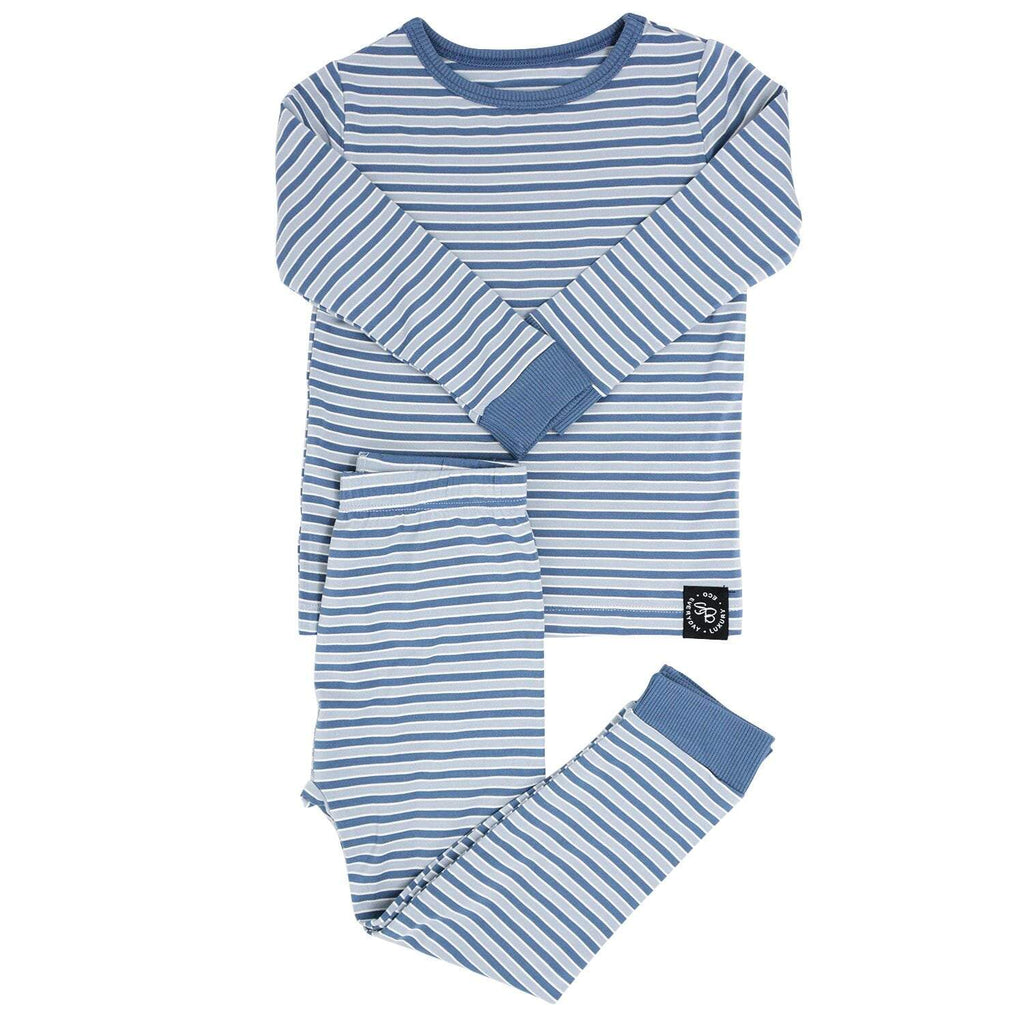 Big Kid PJ's Long Sleeve Top & Long Bottom - Blue Stripe - Sweet Bamboo