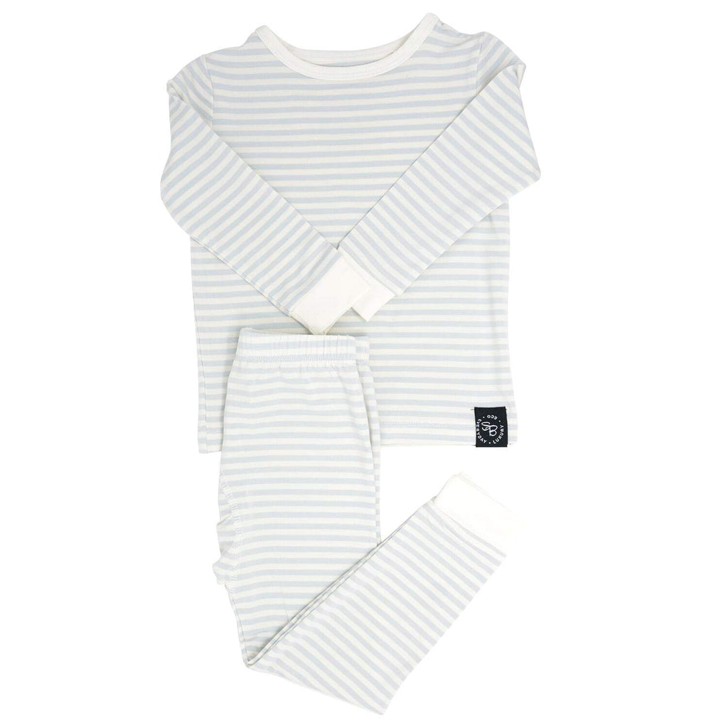 Big Kid PJ's Long Sleeve Top & Long Bottom - Blue & White Stripe - Sweet Bamboo