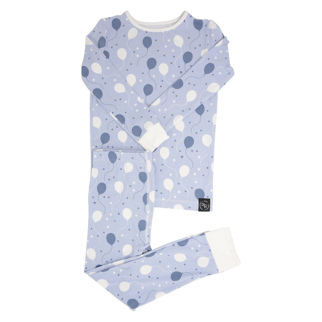 Big Kid PJ's Long Sleeve Top & Long Bottom - Blue Balloons - Sweet Bamboo