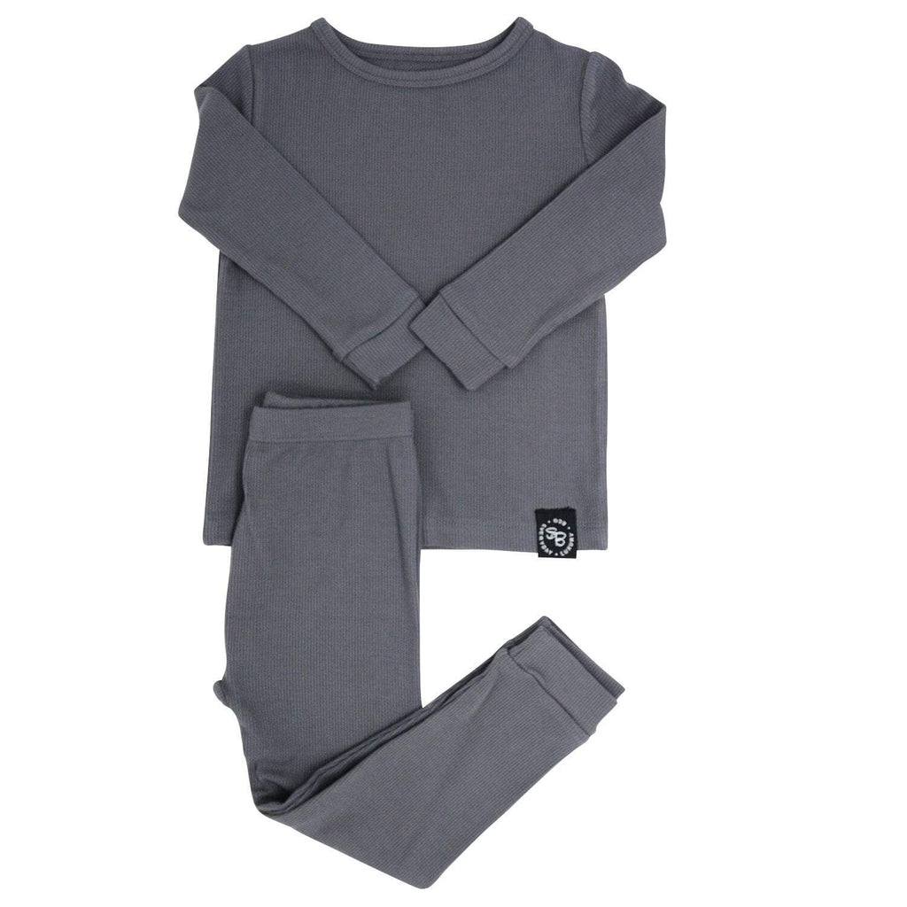 Big Kid PJ's Long Sleeve Top & Long Bottom - Charcoal Ribbed - Sweet Bamboo