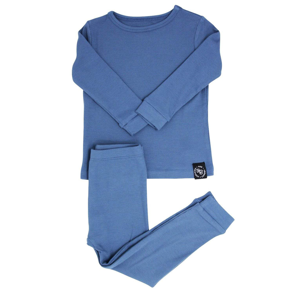 Big Kid PJ's Long Sleeve Top & Long Bottom - China Blue Ribbed - Sweet Bamboo
