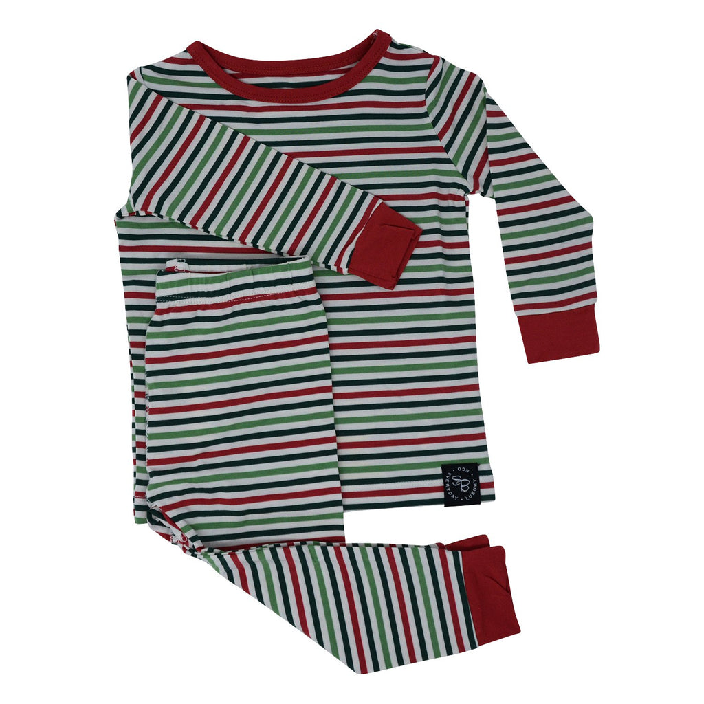 Big Kid PJ's Long Sleeve Top & Long Bottom - Christmas Stripes - Sweet Bamboo