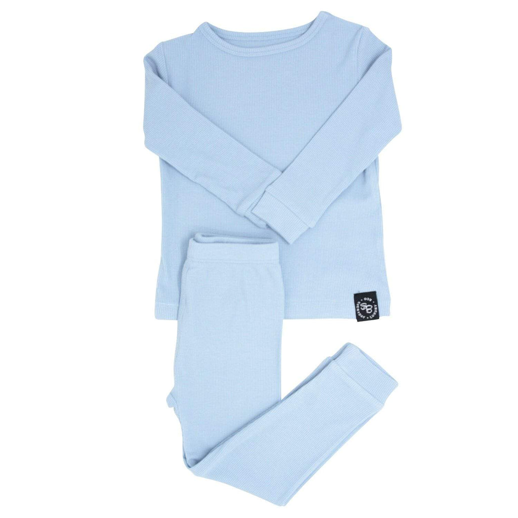 Big Kid PJ's Long Sleeve Top & Long Bottom - Dusty Blue Ribbed - Sweet Bamboo
