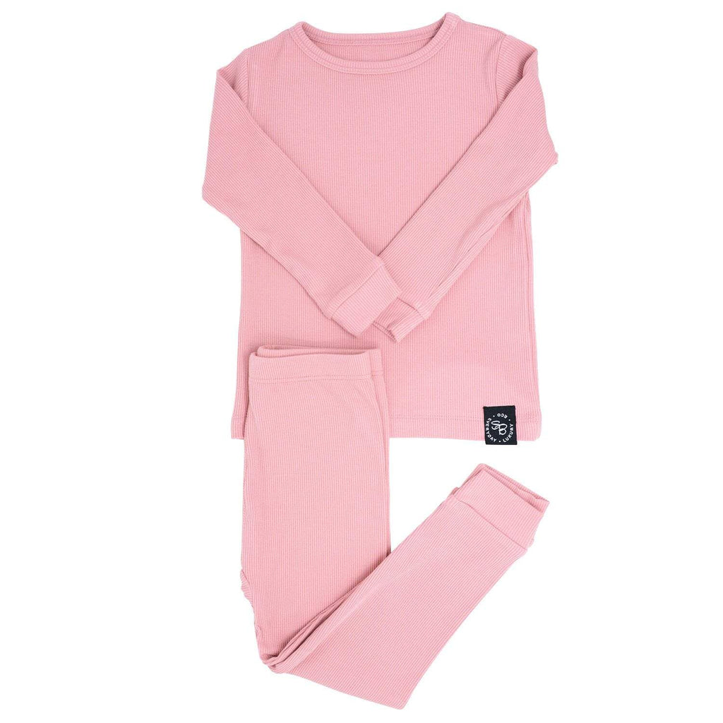 Big Kid PJ's Long Sleeve Top & Long Bottom - Dusty Pink Ribbed - Sweet Bamboo