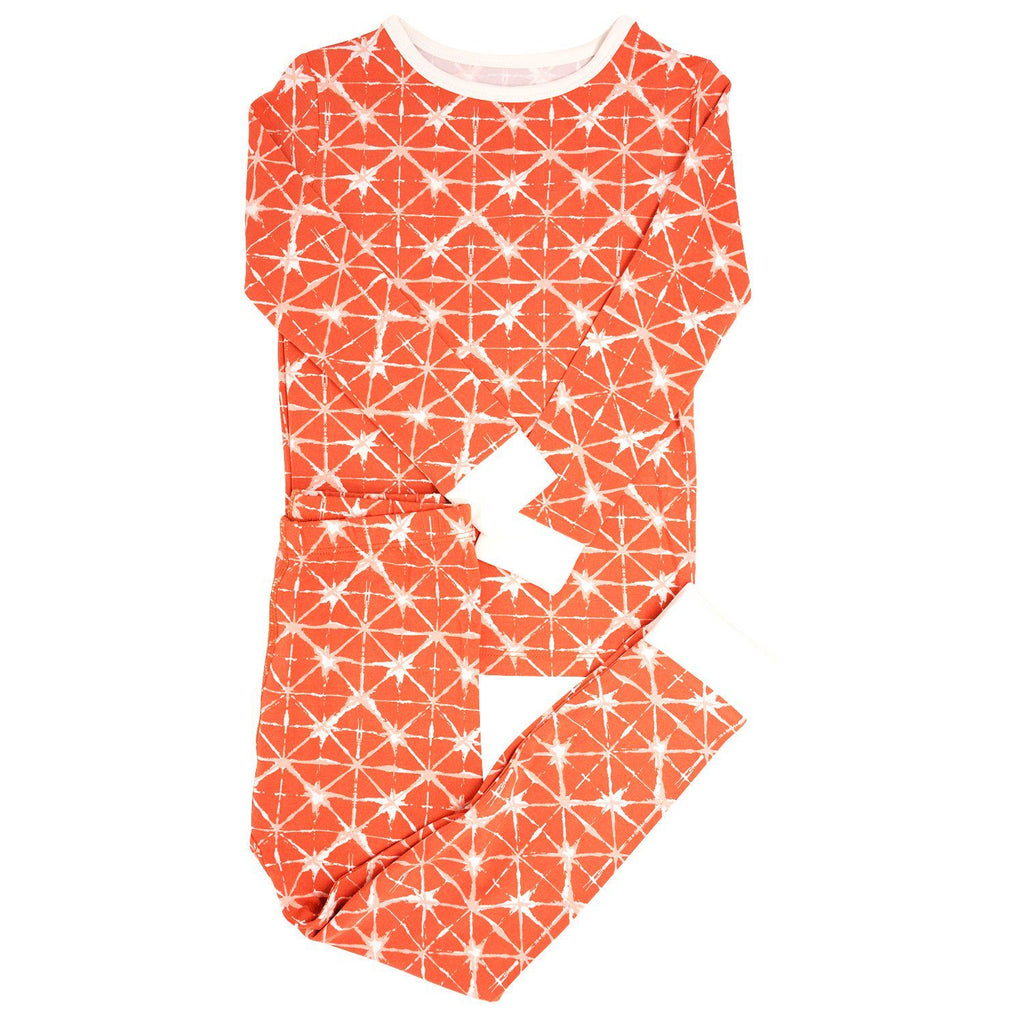 Big Kid PJ's Long Sleeve Top & Long Bottom - Geo Grid Orange Big Kid PJ's sweetbambooclothing