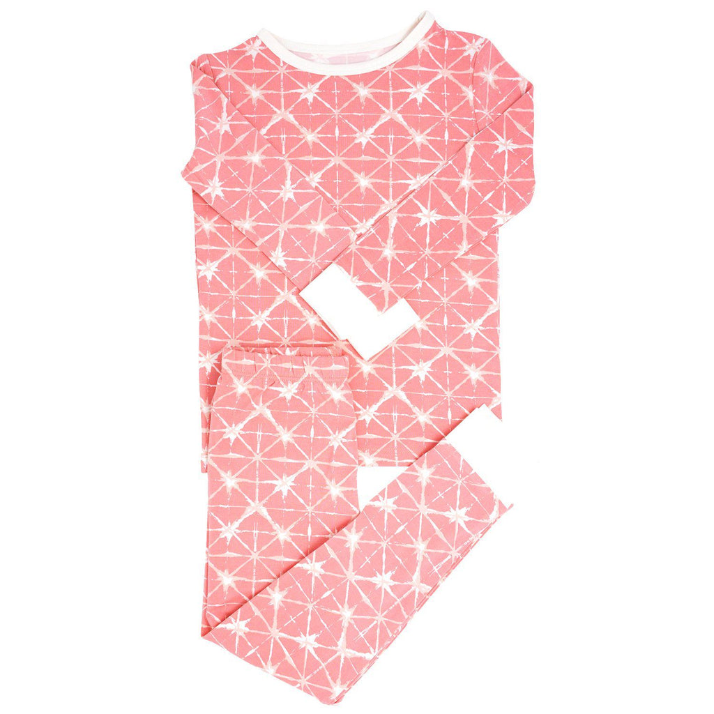 Big Kid PJ's Long Sleeve Top & Long Bottom - Geo Grid Pink Big Kid PJ's sweetbambooclothing