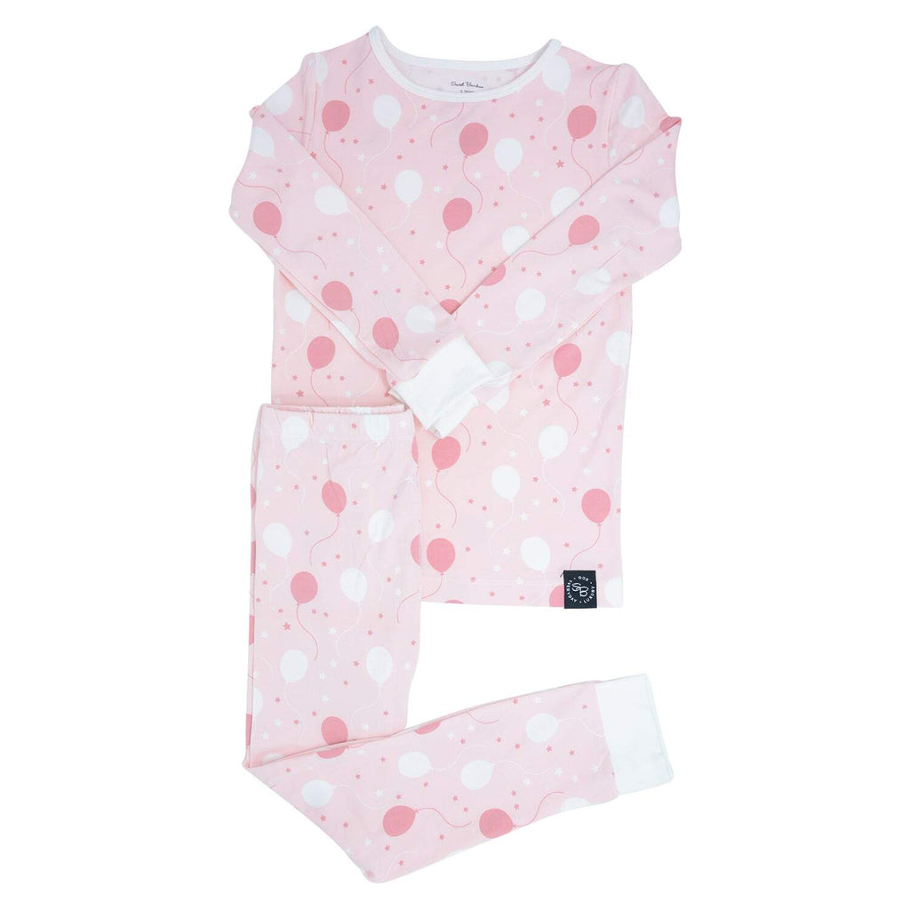 Big Kid PJ's Long Sleeve Top & Long Bottom - Pink Balloons - Sweet Bamboo