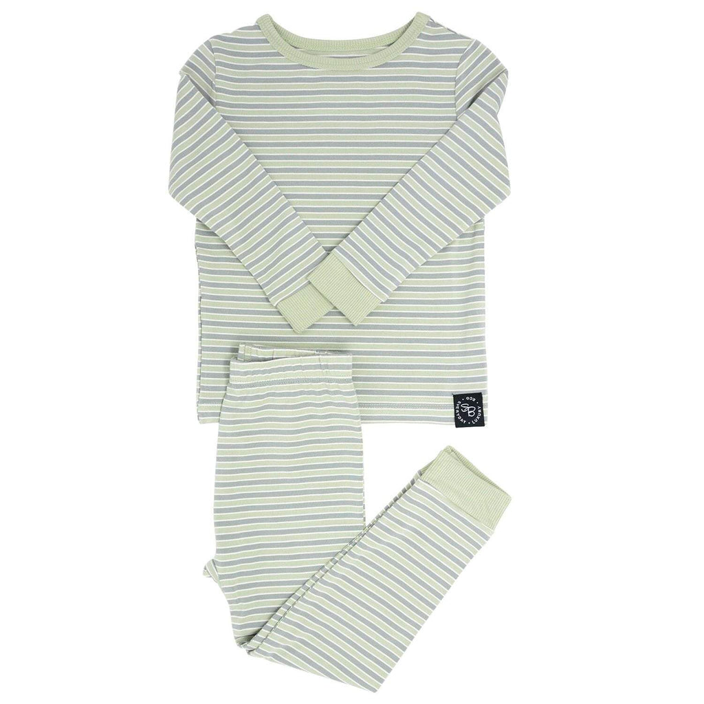 Big Kid PJ's Long Sleeve Top & Long Bottom - Green Stripe - Sweet Bamboo