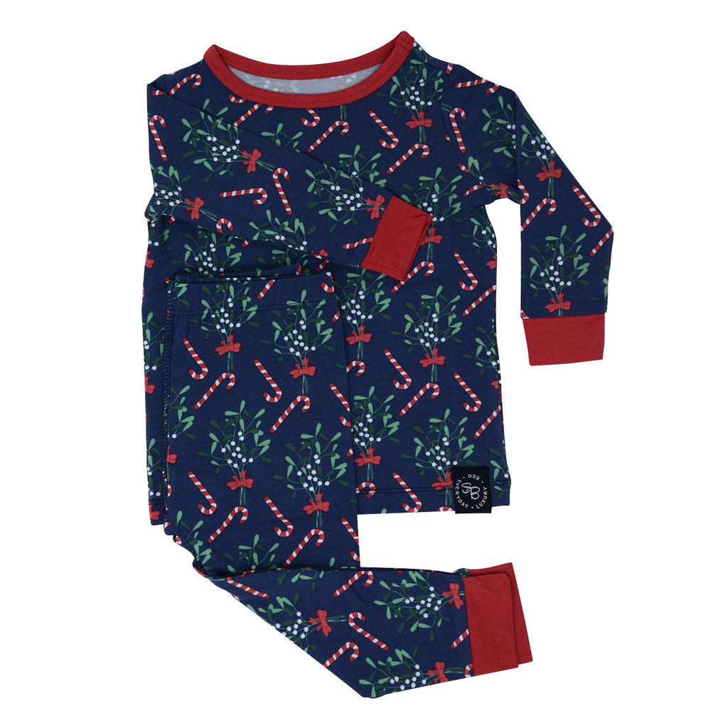 Big Kid PJ's Long Sleeve Top & Long Bottom - Mistletoe Navy sweetbambooclothing