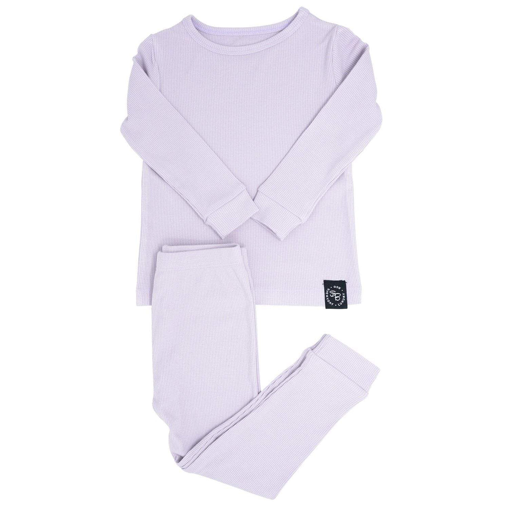 Big Kid PJ's Long Sleeve Top & Long Bottom - Orchid Hush Ribbed - Sweet Bamboo