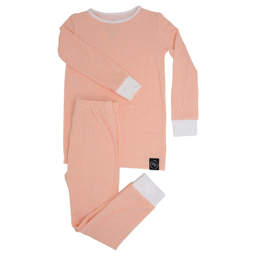 Big Kid PJ's Long Sleeve Top & Long Bottom - Peach Dots - Sweet Bamboo
