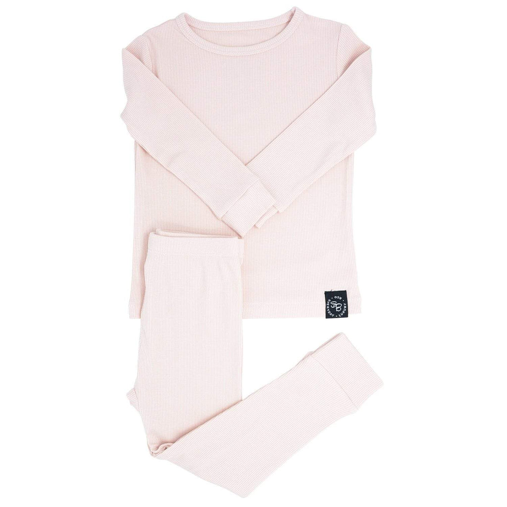 Big Kid PJ's Long Sleeve Top & Long Bottom - Pink Blush Ribbed - Sweet Bamboo