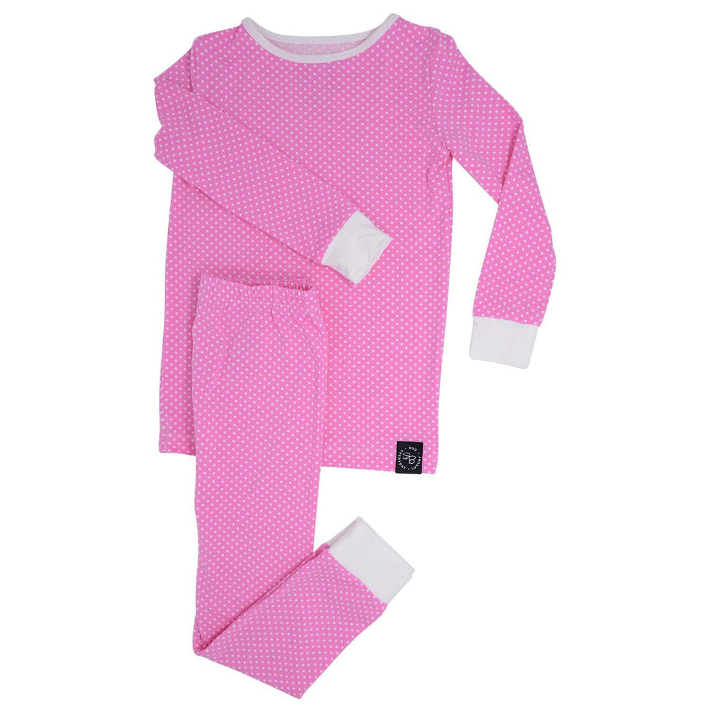 Big Kid PJ's Long Sleeve Top & Long Bottom - Pink Dots - Sweet Bamboo