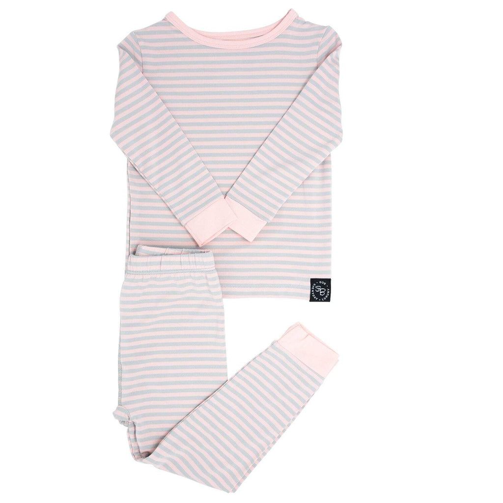 Big Kid PJ's Long Sleeve Top & Long Bottom - Pink & Grey Stripe - Sweet Bamboo