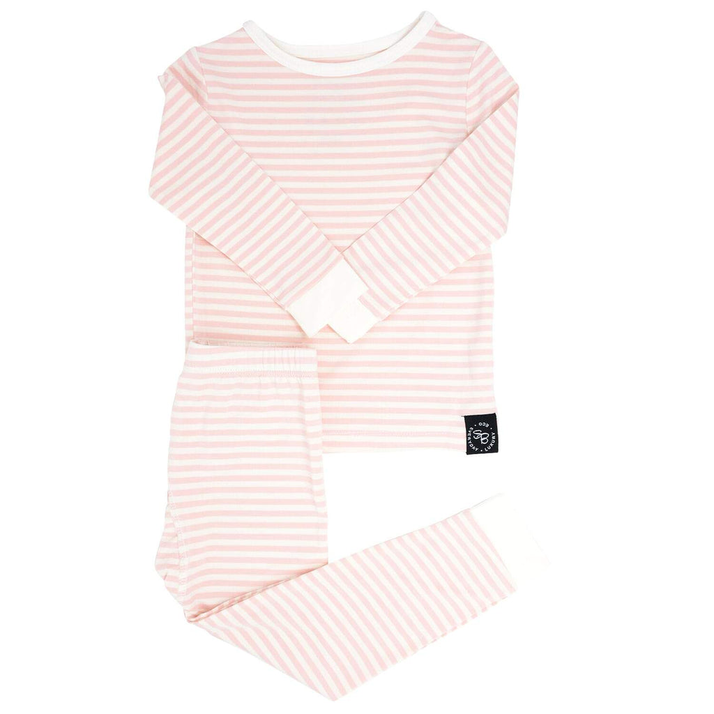 Big Kid PJ's Long Sleeve Top & Long Bottom - Pink & White Stripe - Sweet Bamboo