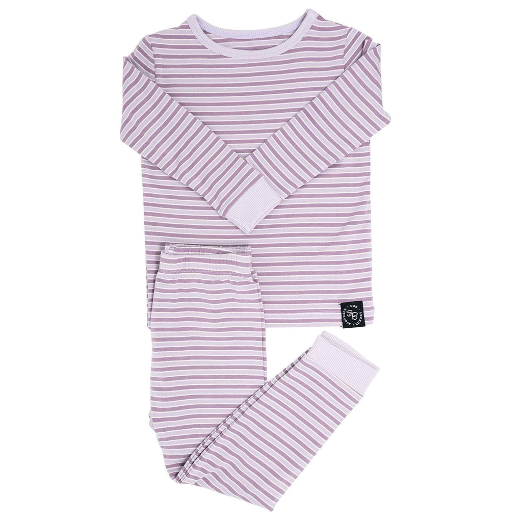 Big Kid PJ's Long Sleeve Top & Long Bottom - Purple Stripe - Sweet Bamboo