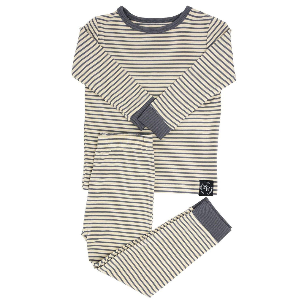 Big Kid PJ's Long Sleeve Top & Long Bottom - Sand with Black Mini Stripe - Sweet Bamboo
