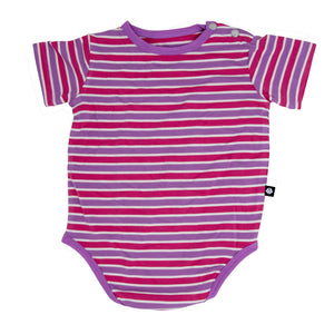 Bodysuit - Coral/Orchid Stripe - Sweet Bamboo