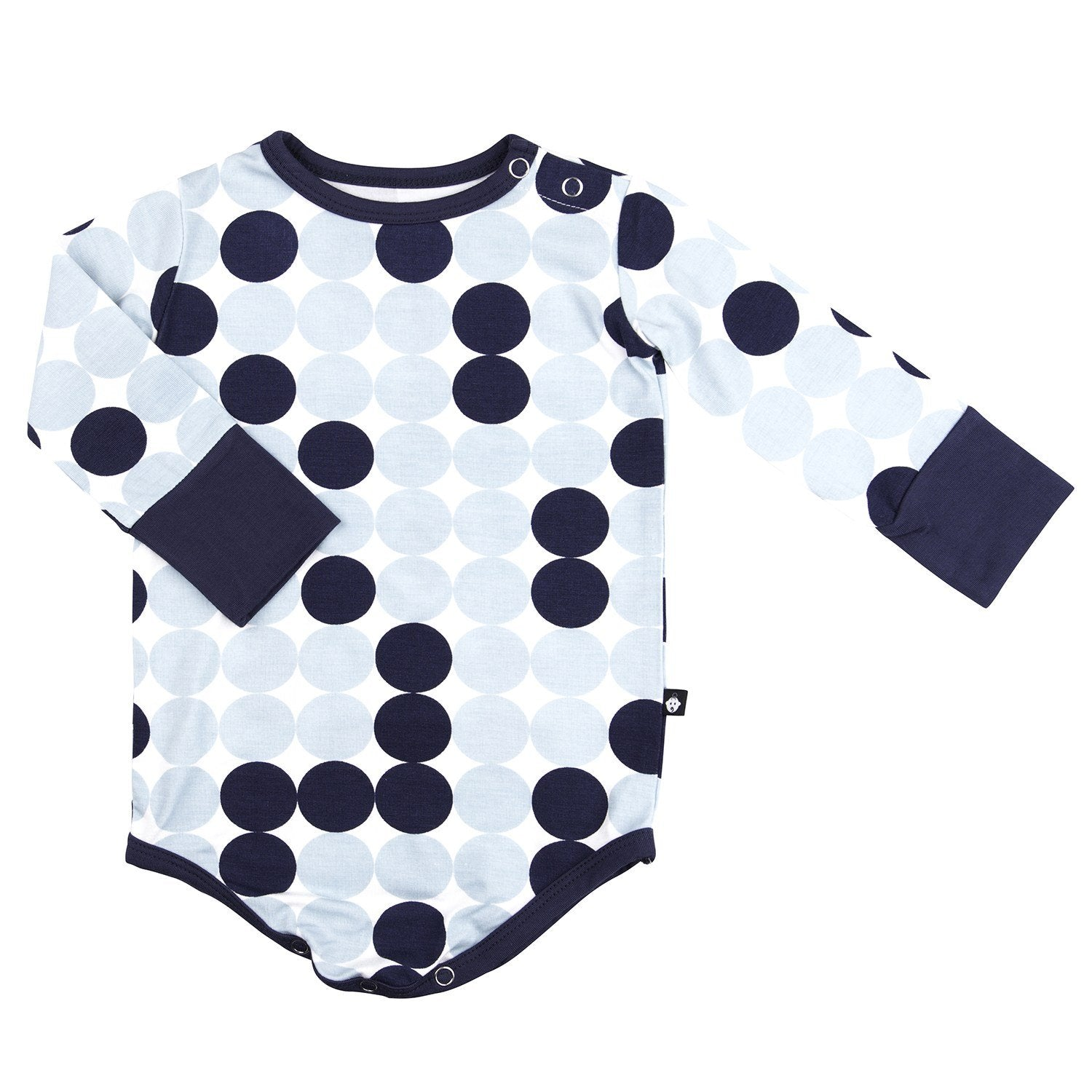 Bodysuit - Long Sleeve-Blue Scatter Dot - Sweet Bamboo