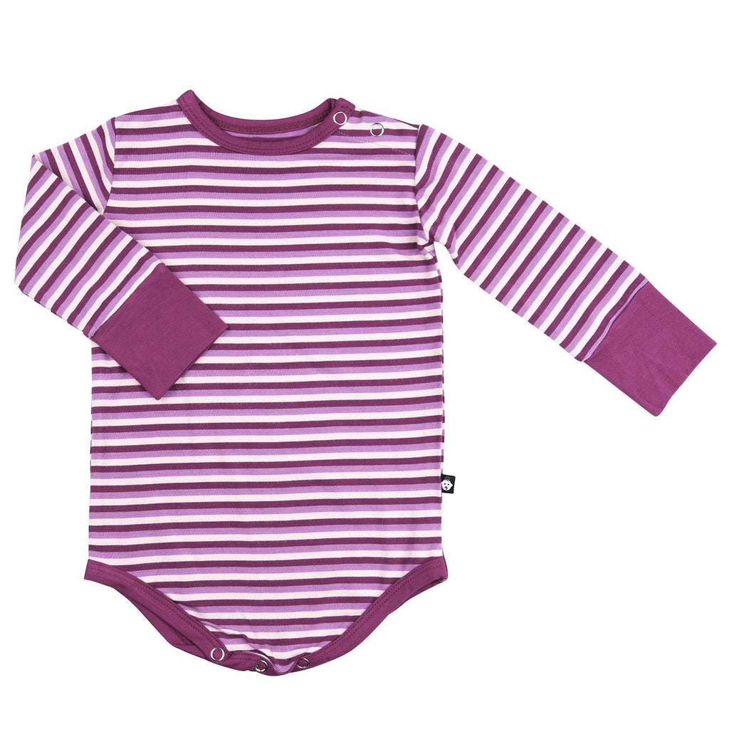 Bodysuit - Long Sleeve-Cranberry Stripe - Sweet Bamboo