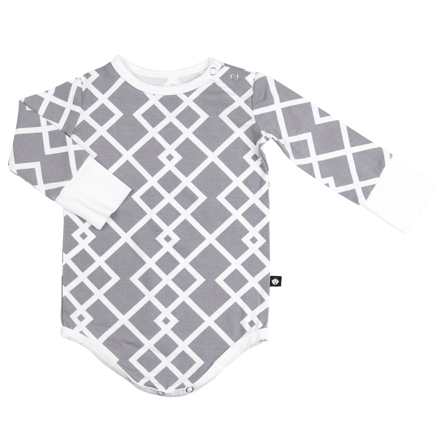 Bodysuit - Long Sleeve-Grey Lattice - Sweet Bamboo