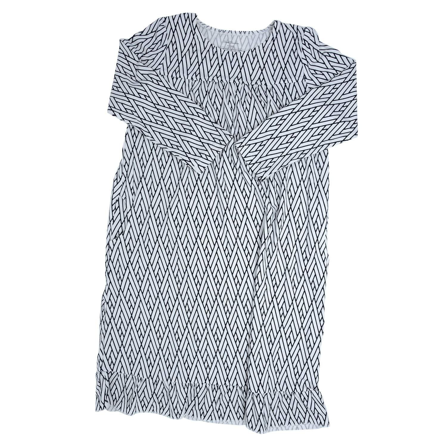 Boho Dress - Modern Weave White with Black - Sweet Bamboo