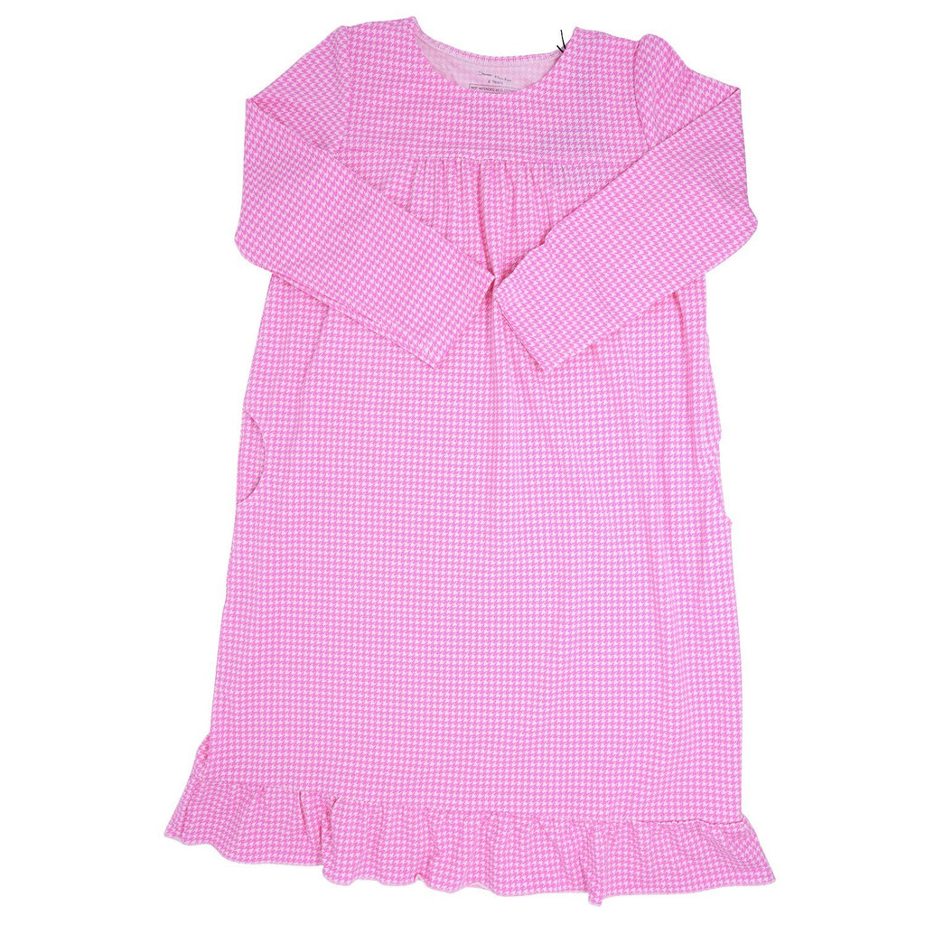 Boho Dress - Pink Houndstooth - Sweet Bamboo