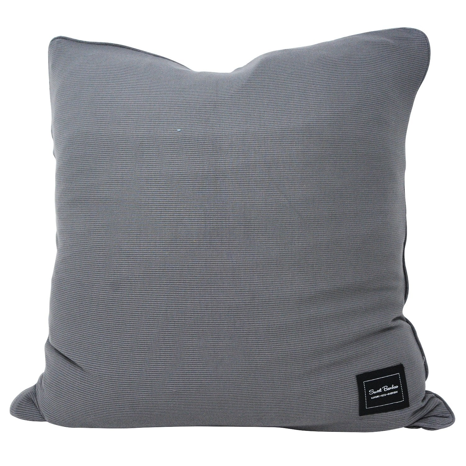 Decorative Pillow Sham (Square) - Charcoal Ribbed - Sweet Bamboo