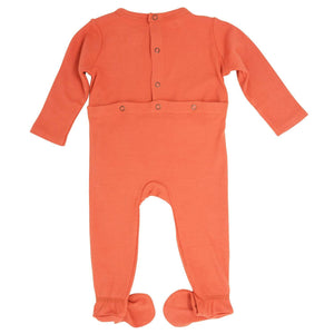 Footie with Bum Flap - Apricot Ribbed - Sweet Bamboo