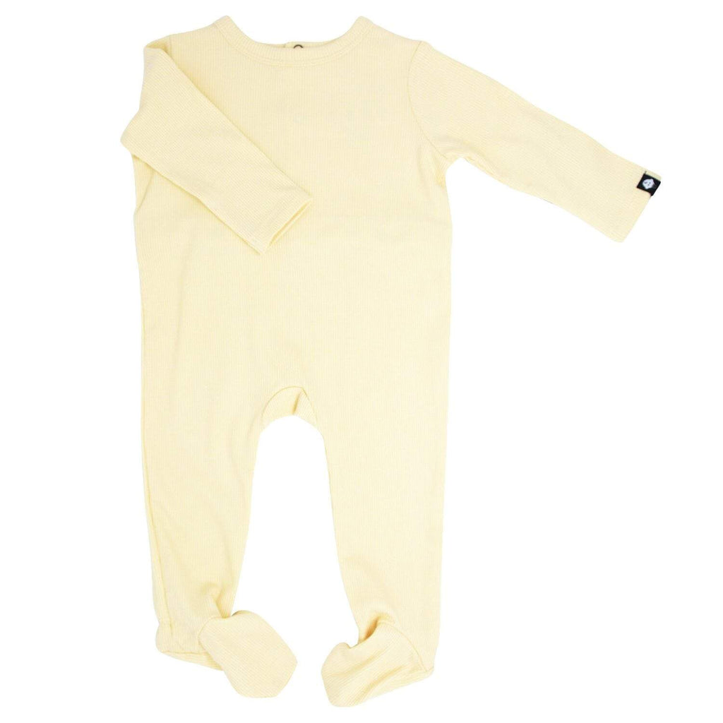 Footie with Bum Flap - Bleached Sand Ribbed - Sweet Bamboo