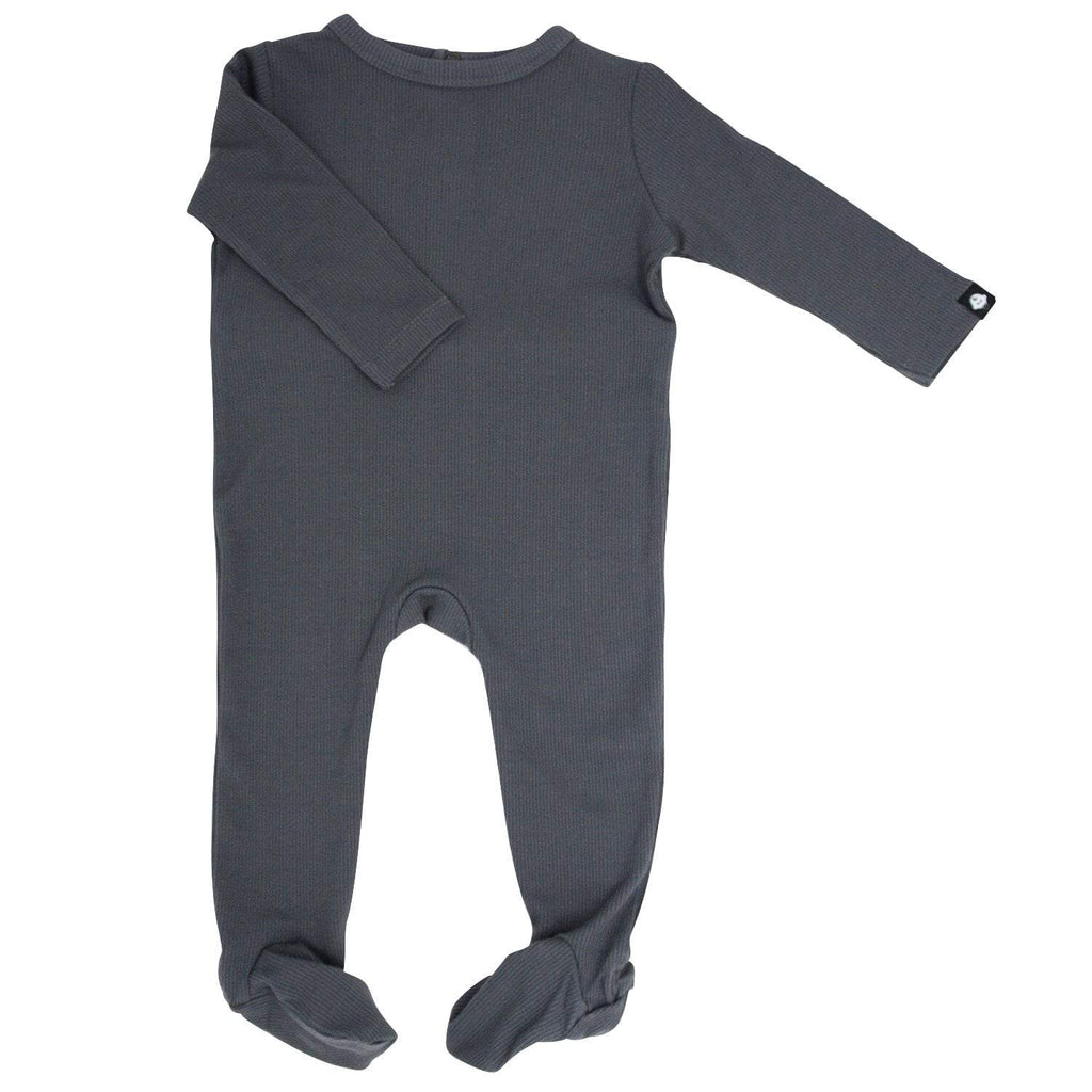 Footie with Bum Flap - Charcoal Ribbed - Sweet Bamboo