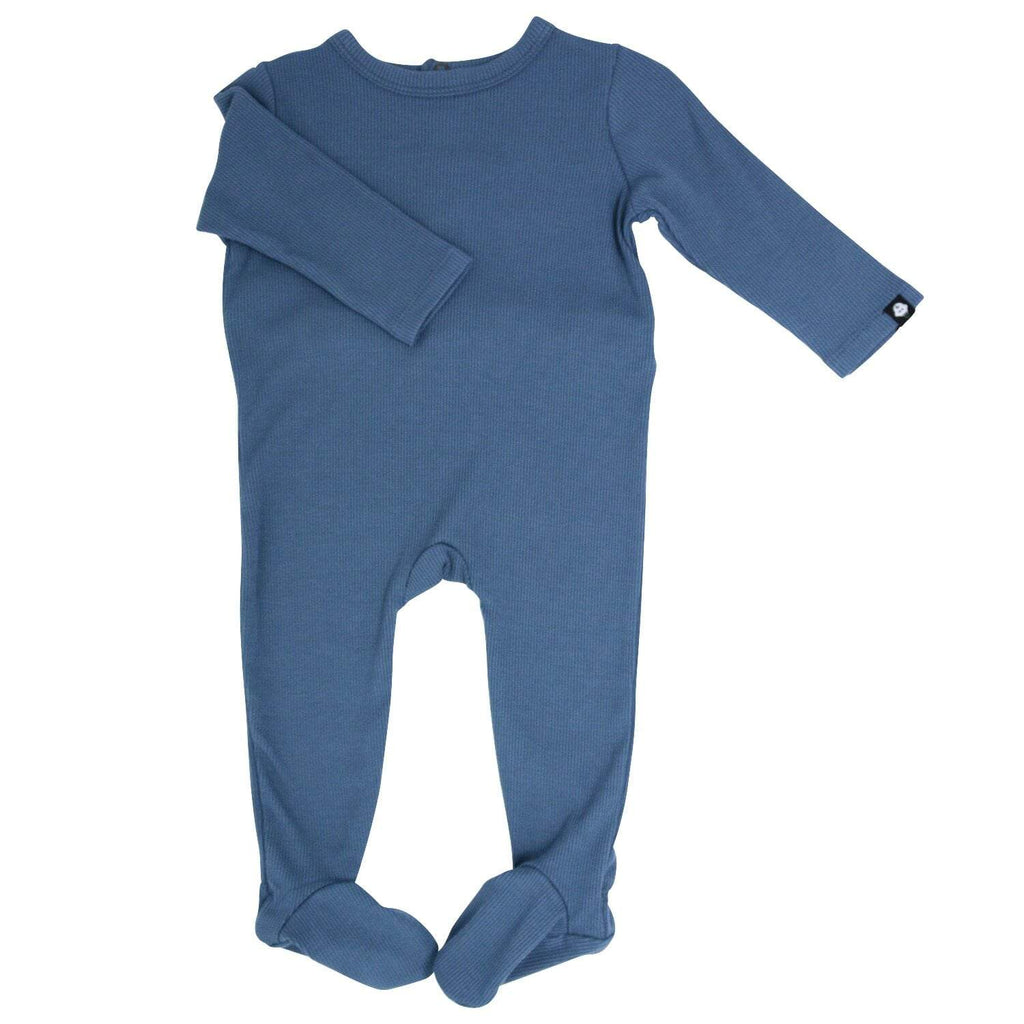 Footie with Bum Flap - China Blue Ribbed - Sweet Bamboo