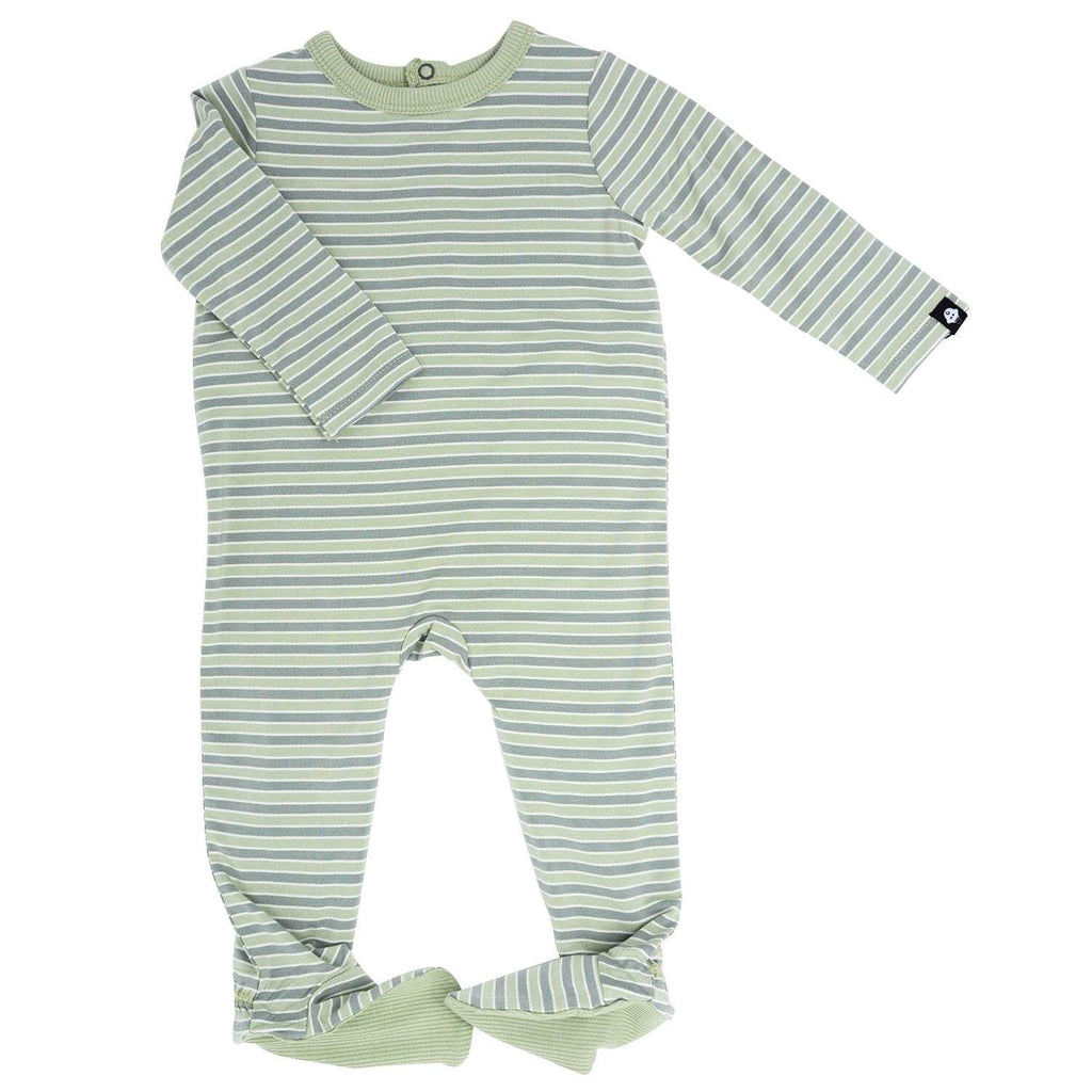 Footie with Bum Flap - Green Stripe - Sweet Bamboo