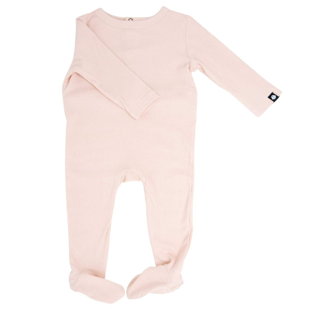 Footie with Bum Flap - Pink Blush Ribbed - Sweet Bamboo