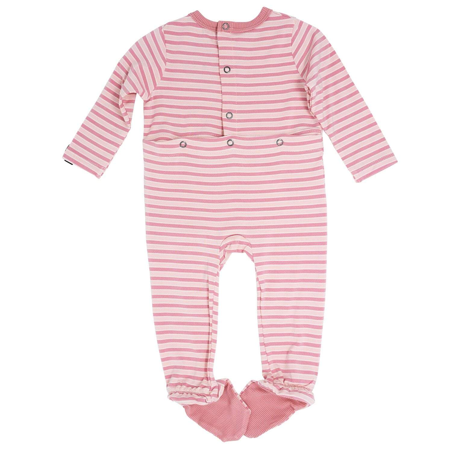 Footie with Bum Flap - Pink Stripe - Sweet Bamboo