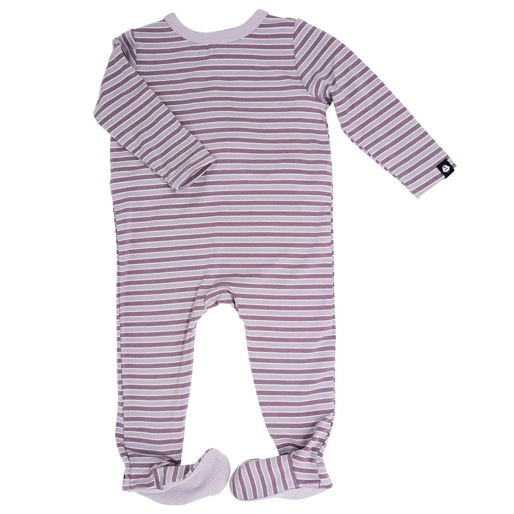Footie with Bum Flap - Purple Stripe - Sweet Bamboo