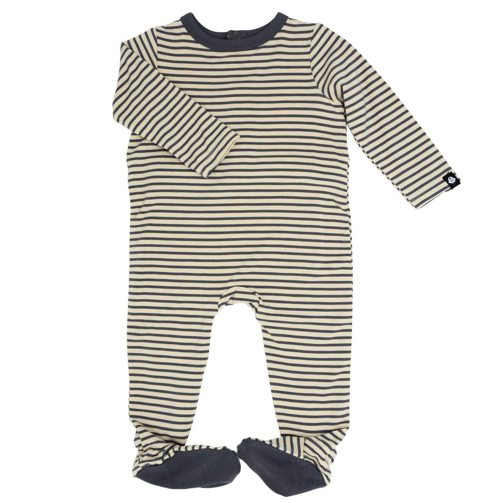 Footie with Bum Flap - Sand with Black Mini Stripe - Sweet Bamboo