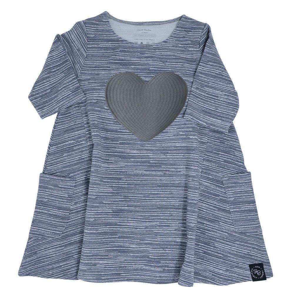 French Terry Dress (With Heart) - Charcoal Chalk Lines - Sweet Bamboo
