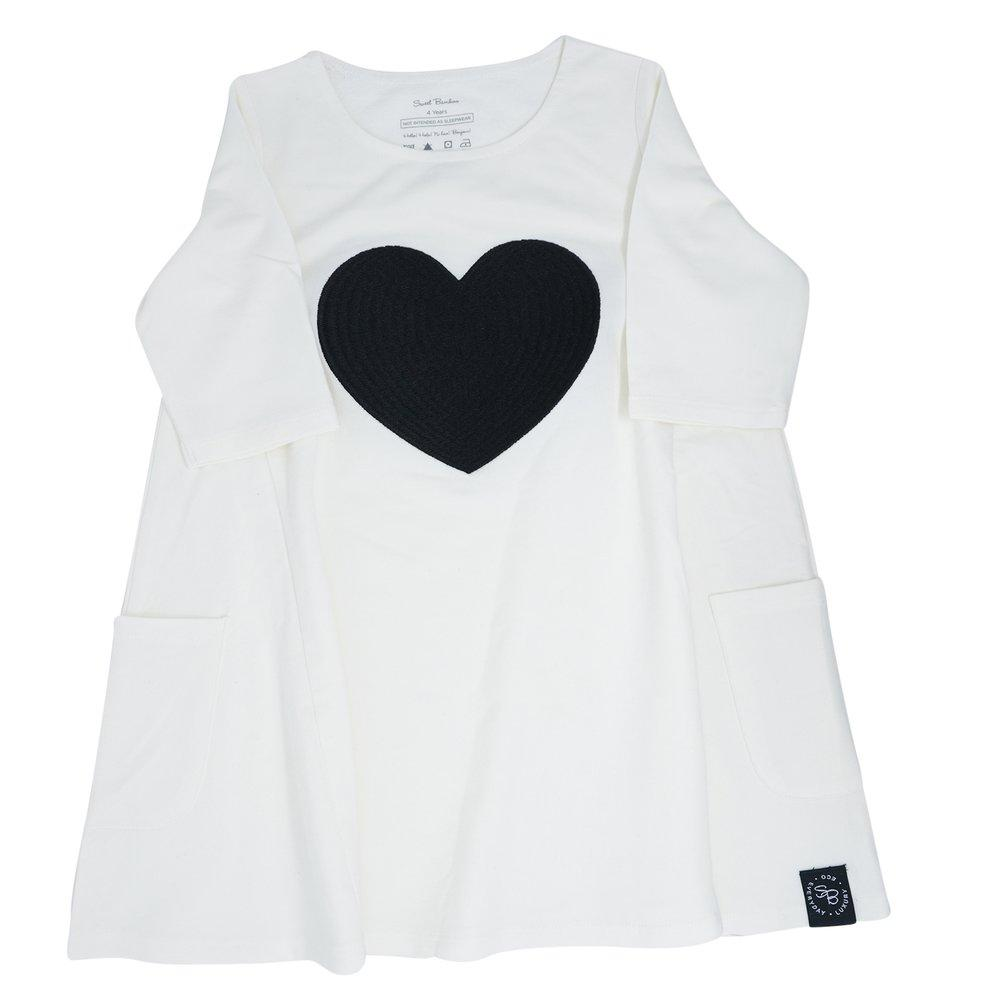 French Terry Dress (With Heart) - White Terry - Sweet Bamboo