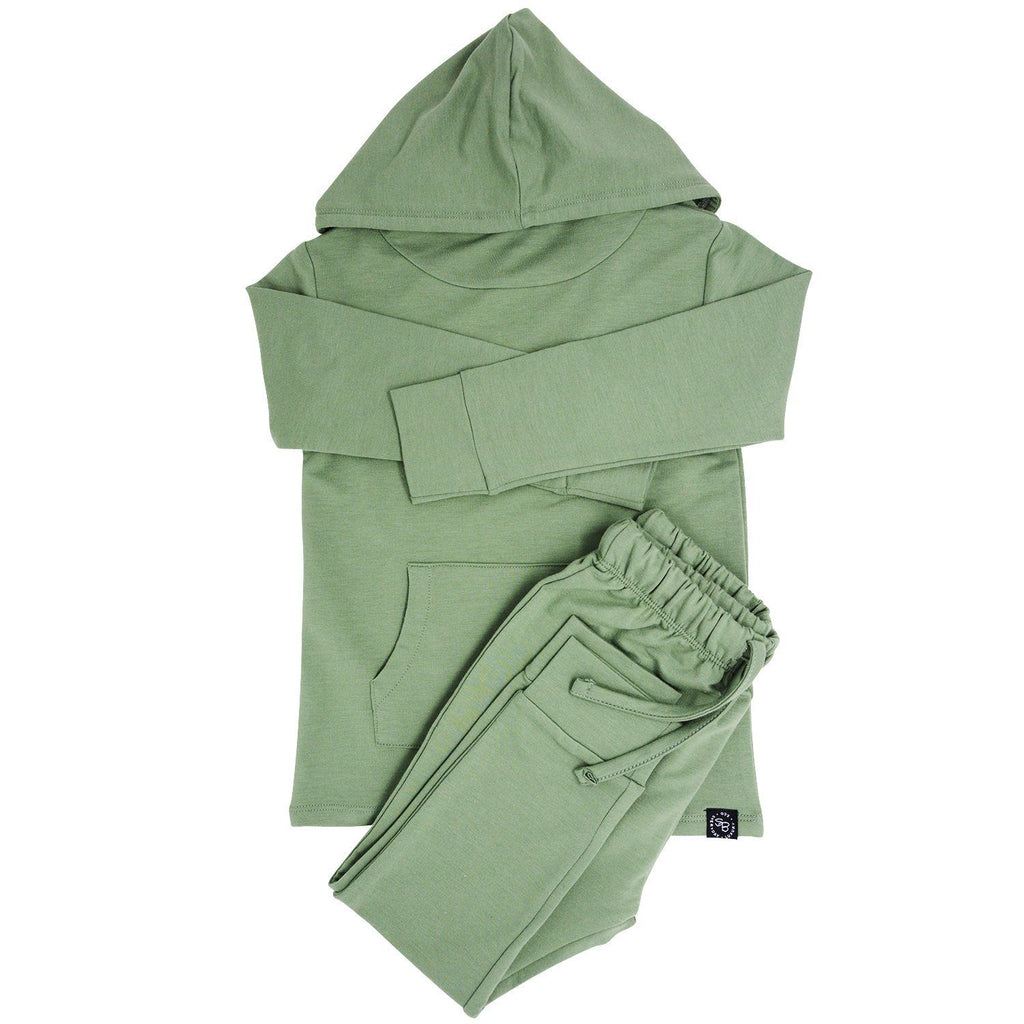 French Terry Hoodie & Jogger Set - Army Green Jogger Sets sweetbambooclothing