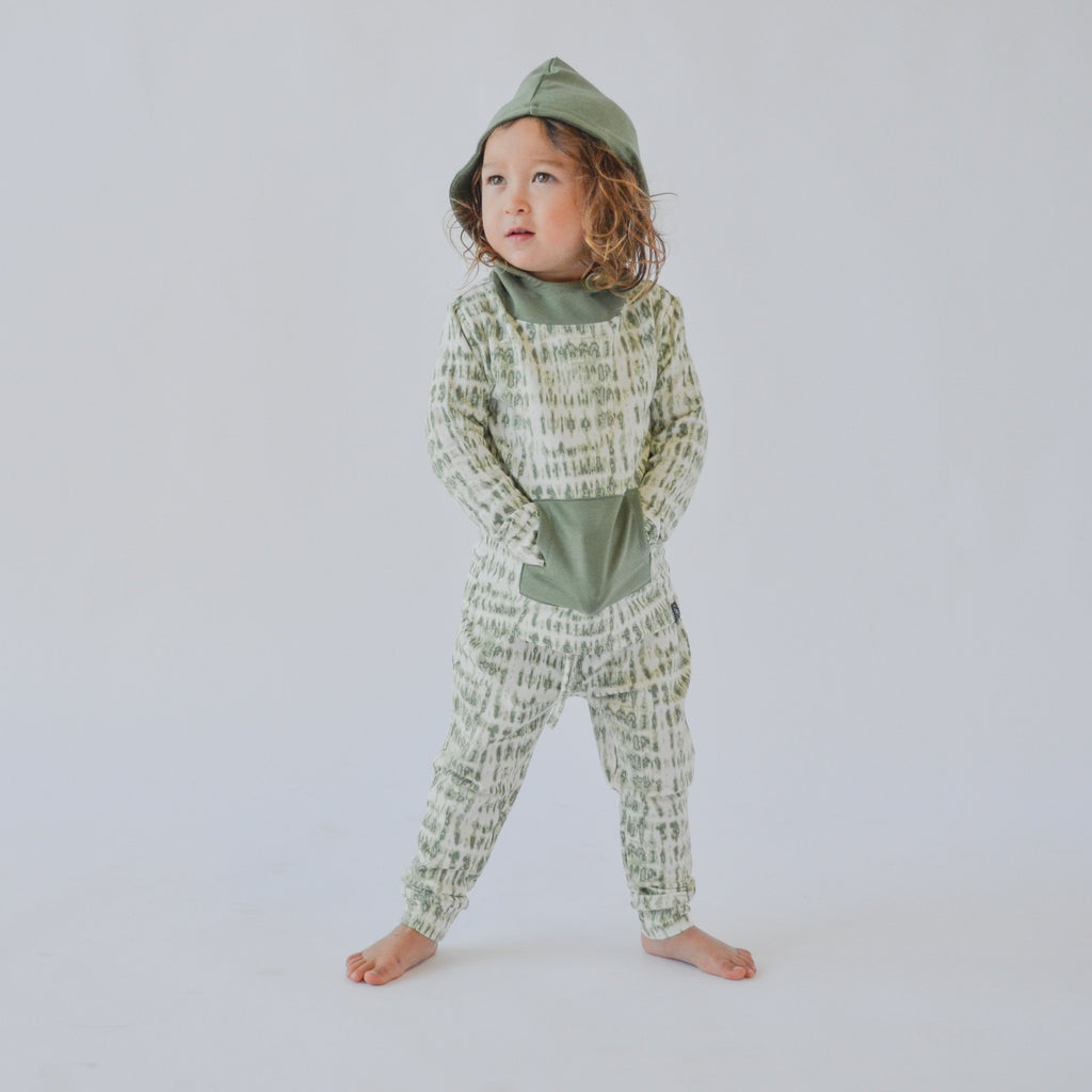 French Terry Hoodie & Jogger Set - Bars Green Jogger Sets sweetbambooclothing