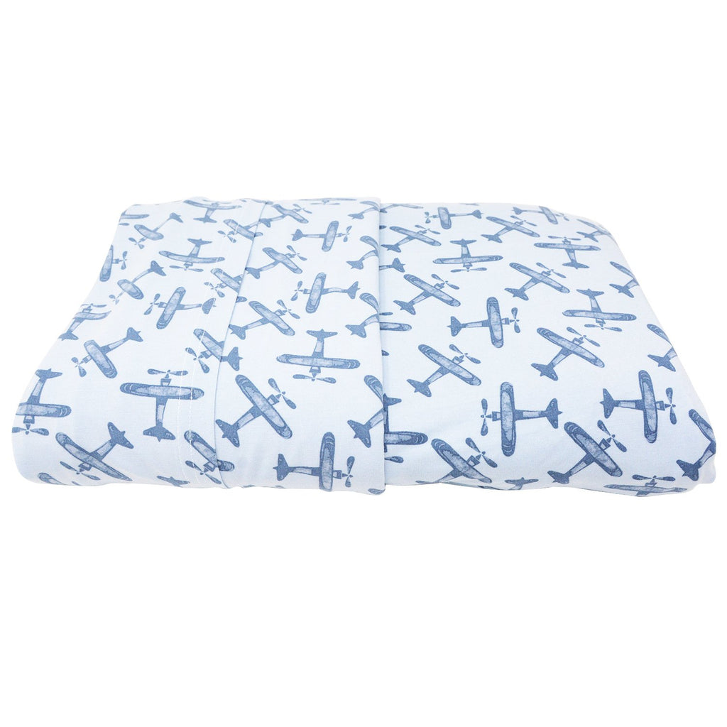 Full Sheet Set (Fitted + 2 Pillow Cases) - Airplane Blue - Sweet Bamboo