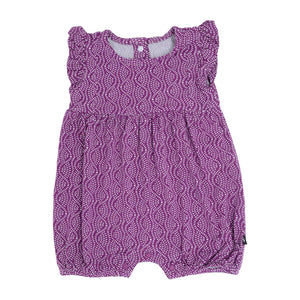 Girl's Tuxedo Romper - Plum Rice Water - Sweet Bamboo