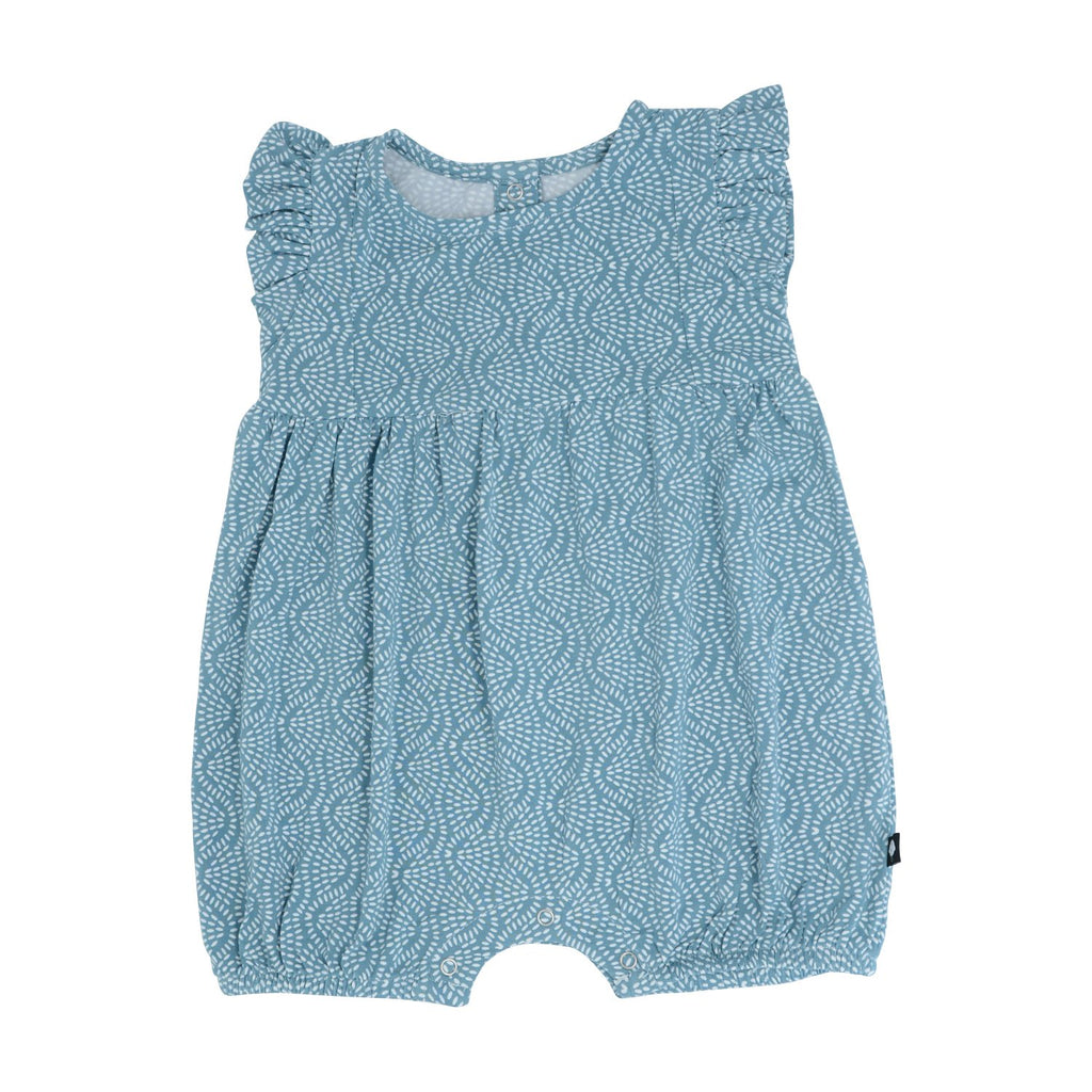 Girl's Tuxedo Romper - Teal Rice Water - Sweet Bamboo