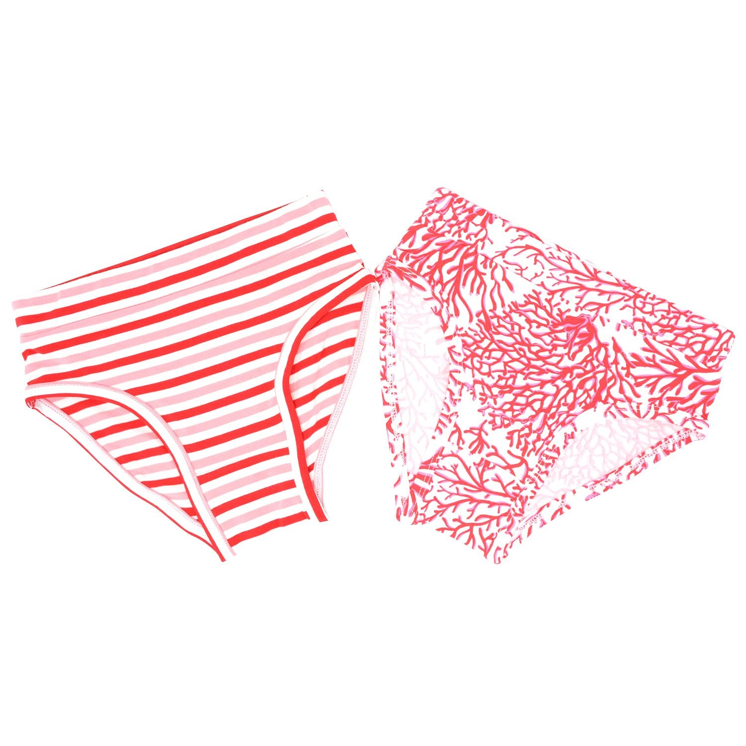 Girl's Underwear 2 Piece Set - Strawberry & Pink Stripe/Red Coral Bottoms sweetbambooclothing