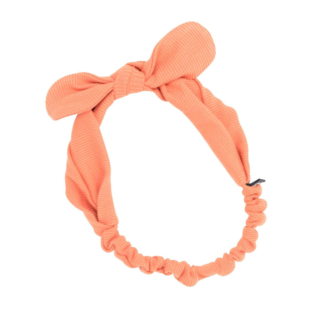 Headband With Bow - Apricot Ribbed - Sweet Bamboo