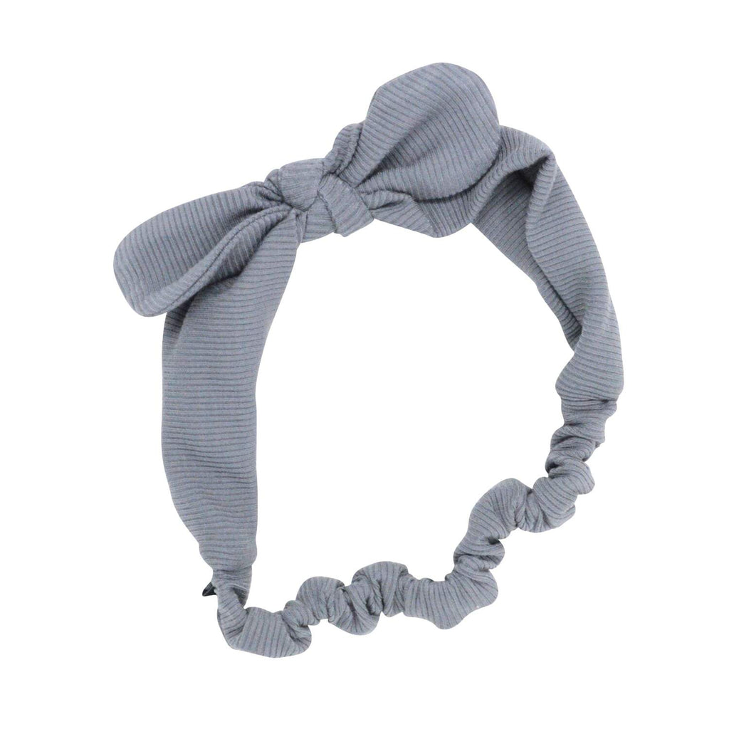 Headband With Bow - Charcoal Ribbed - Sweet Bamboo